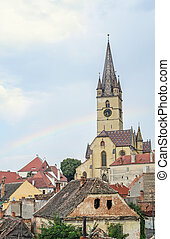 SIBIU, ROMANIA - AUGUST 10, 2016: The Lutheran Cathedral of Saint Mary, most famous Gothic-style church in Transylvania