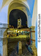 sibiu, romania - council tower in sibiu, transylvania,...
