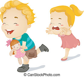 Sibling Chase - Illustration of a Little Girl Chasing Her...