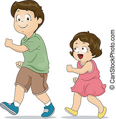 Sibling Imitation - Illustration of a Little Girl Copying...