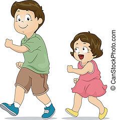 Illustration of a Little Girl Copying the Way Her Elder Brother Walks