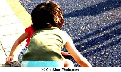 Sibling Playground - Sibling, brother and sister playing at...