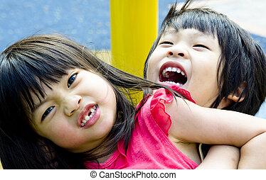 Sibling playing - Asian Sibling, brother and sister play ...