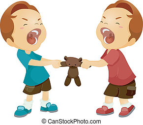 Sibling Rivalry - Illustration of Twin Boys Fighting Over a...