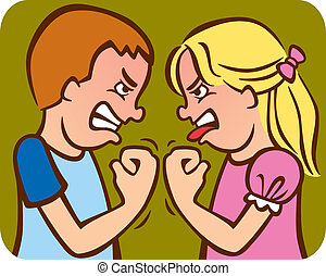 Illustration of a brother and sister arguing/fighting with each other