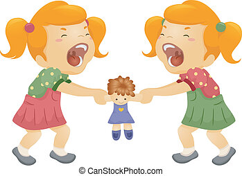 Sibling Rivalry - Illustration of Twin Sisters Fighting Over...