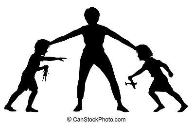 Sibling rivalry silhouette