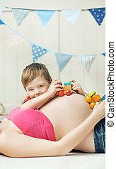 sibling, schattig, ongeboren, spelend, jongen