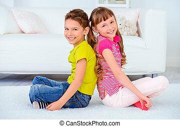 siblings, blij, vrolijke