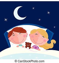 Cute children sleeping in the bed. Moon and stars on the sky behind. Cartoon vector illustration.