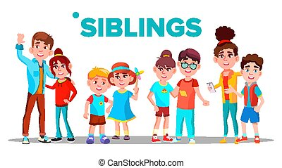 Siblings, Cheerful Brothers and Sisters Vector Banner Concept