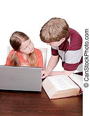 siblings doing homework