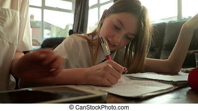Siblings doing Homework - Little girl and her brother are...