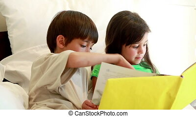 Siblings holding a book while reading it in a bright room