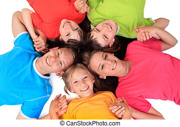 Siblings in colorful t shirts - Five siblings in colorful...