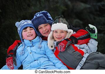 Siblings in winter