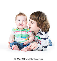 Siblings playing together, on white