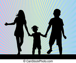 siblings - silhouettes