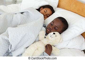 Siblings sleeping together in bed in bedroom