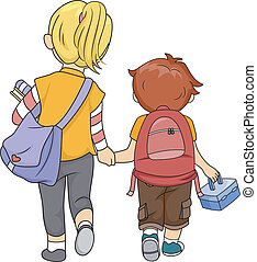 Siblings Walking Home