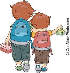 siblings, wandelende, thuis