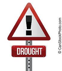 siccità, concetto, traffico, segno strada