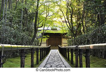 sich nähern, straße, zu, der, koto-in, tempel, kyoto, japan