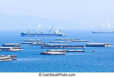 sichang, île, thailand., lot, bateau, bateau