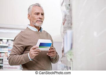 sicher, älterer mann, auswählen, medikation