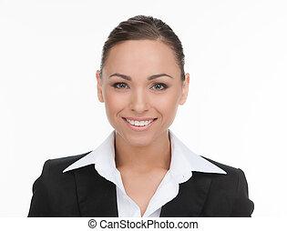 sicher, businessman., porträt, von, heiter, junger, geschäftsmann, anschauen kamera, während, freigestellt, weiß