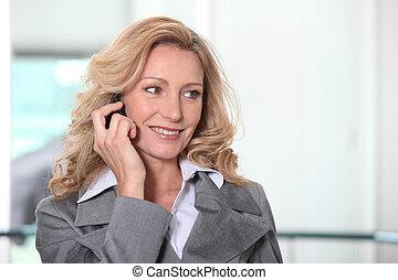 sicher, geschäftsfrau, telefon
