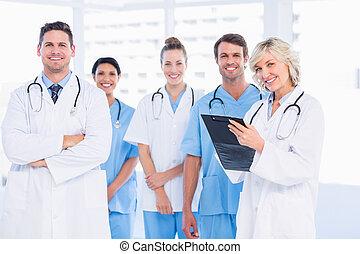 sicher, glücklich, gruppe, doktor- büro, medizin