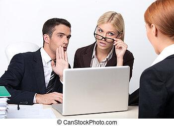 sicher, kandidat, geschäftsmenschen, interviewen, zwei, junger, arbeit, recht, attraktive, candidate?, sie, sie