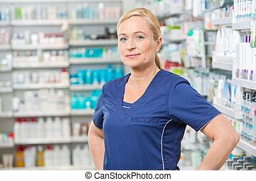 sicher, Lächeln, Chemiker, weibliche, apotheke