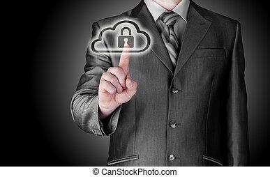 sicher, online, wolke, rechnen, begriff, mit, kaufleuten zürich