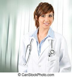 sicher, stethoscope., attraktive, weiblicher doktor