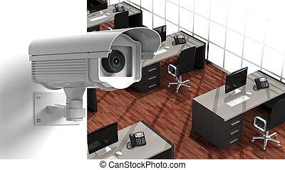 sicherheit, überwachungskamera, auf, wand, innenseite, büro