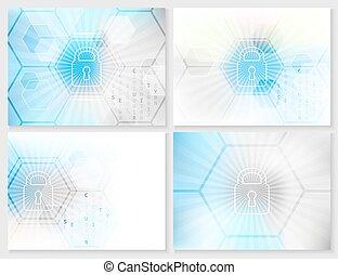 sicherheit, abstrakt, technologisch, hintergrund, concept., ...