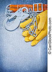 sicherheit, baugewerbe, koerper, gürtel, leder, schützende handschuhe, auf, scrat