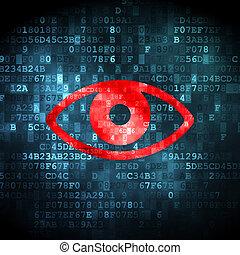 sicherheit, concept:, auge, auf, digitaler hintergrund