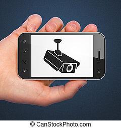 sicherheit, concept:, cctv kamera, auf, smartphone