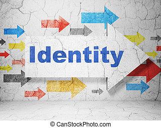 sicherheit, concept:, pfeil, mit, identität, auf, grunge, wand, hintergrund