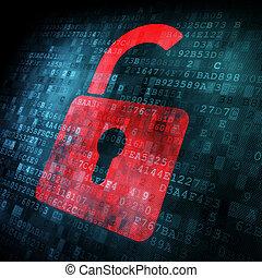 sicherheit, concept:, schloß, auf, digital, schirm