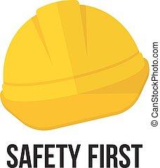 sicherheit, helmet., gelber