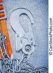 sicherheit, konstruktionsausrüstung, auf, metallisch, hintergrund, senkrecht, ve