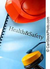 sicherheit, kopfhörer, und, rotes , helm