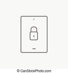 sicherheit, linie, icon., tablette, digital