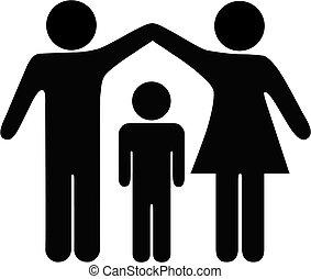 sicherheit, mutter, vater, familie, kind