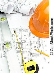 sicherheit, orange, helm, und, wasserwaage, auf, projekt, zeichnungen