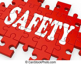 sicherheit, puzzel, ausstellung, firma, sicherheit